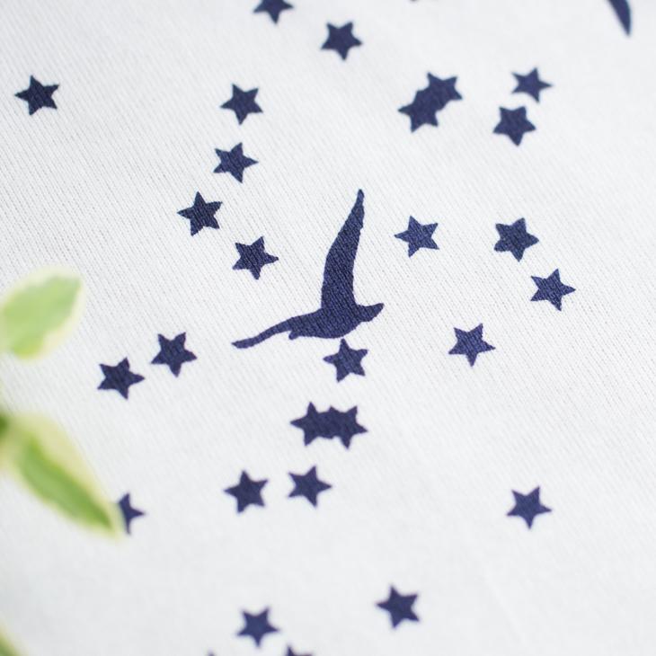 【アートファブリック】星空と鳥たち(ベース:クラシック天竺オフホワイト)