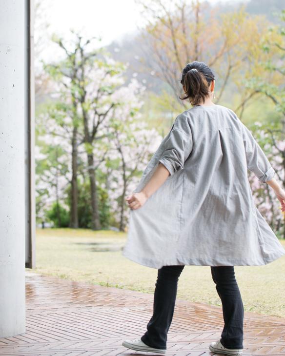【布帛】綿麻・細いストライプ(ブルー)