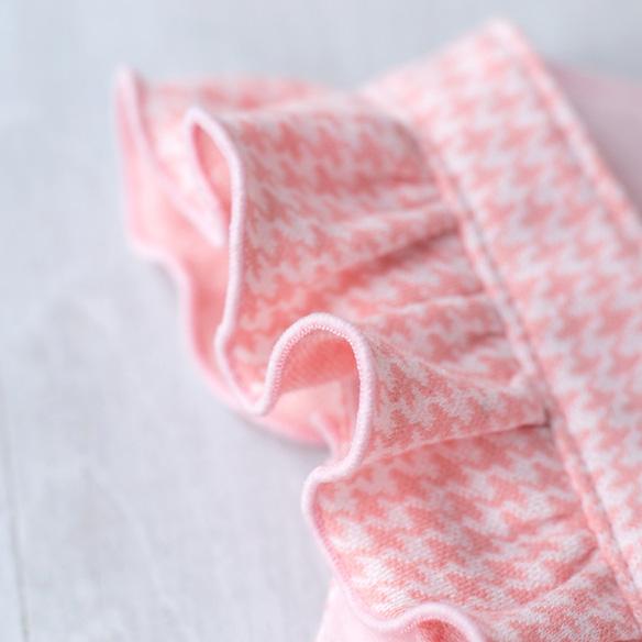 【ニット】スムースのように使えるハウンズトゥース・ジャガードニット(ピンク)