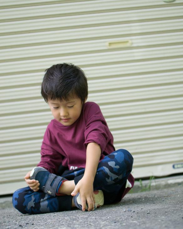 【ニット】やわらか伸びストレッチ デニム風(ブルー迷彩柄)