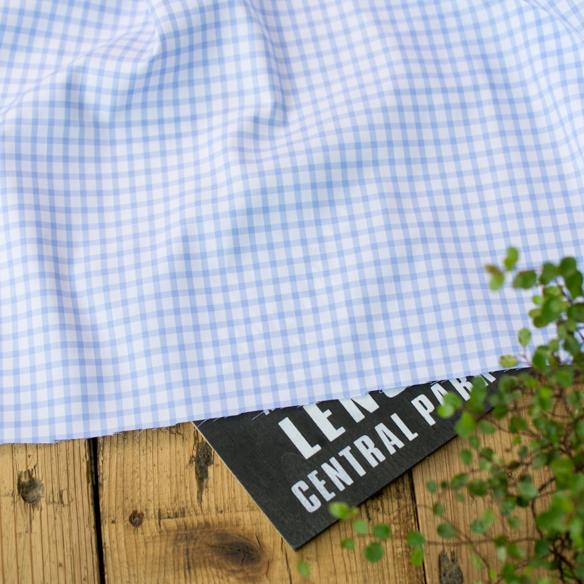 【布帛】上質なチェックのシャツ生地(水色×白)