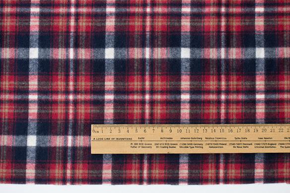 【布帛】暖か片面起毛・コットンネル(赤いチェック) オーダーカット