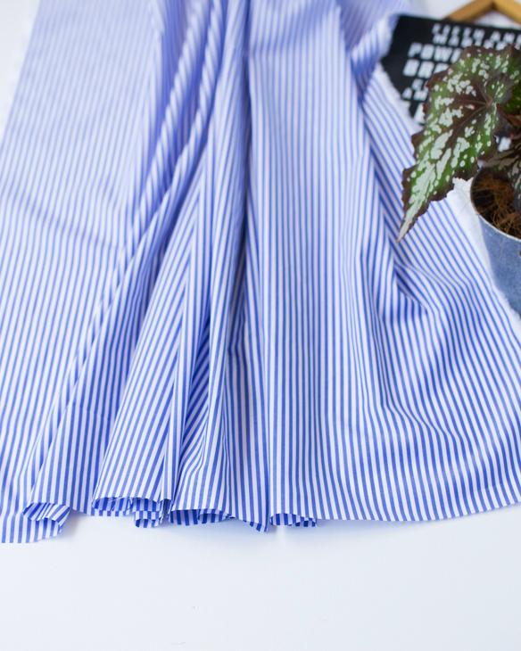 【布帛】なめらか肌触り!ロンドンストライプ・ローン(ライトブルー)オーダーカット